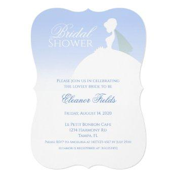 blue and white elegant bridal shower invitation