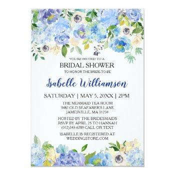 blue and white floral bridal shower invitations