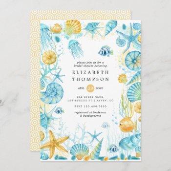 blue and yellow sea life nautical bridal shower invitation