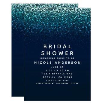 blue aqua navy glitter sparkle bridal shower invitation