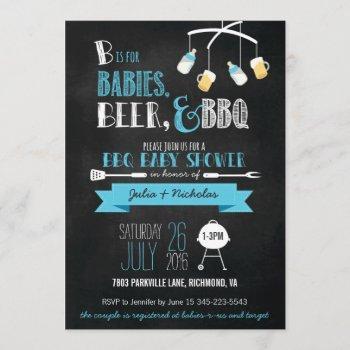 blue babies, beer & bbq baby shower invitation