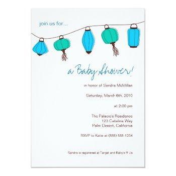 blue chinese lanterns invitations, 5x7 invitation