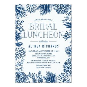 blue corals frame summer bridal luncheon invitation
