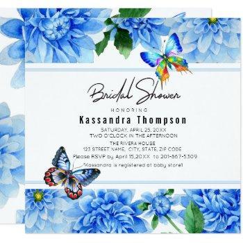 blue dahlia floral bridal shower invitation