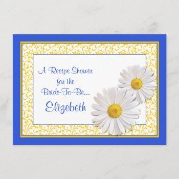 blue daisy recipe theme bridal shower invitation