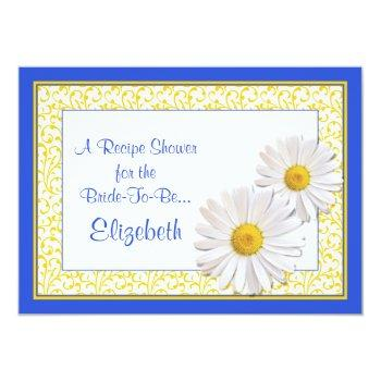 blue daisy recipe theme bridal shower invitation