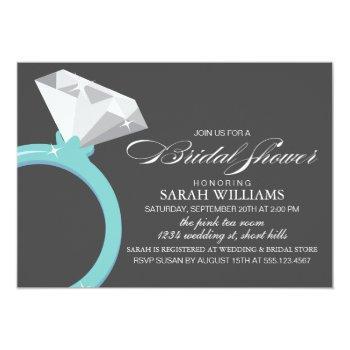 blue diamond ring bridal shower invitation
