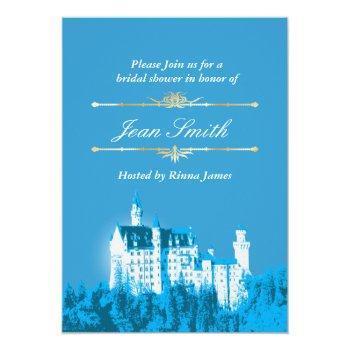 blue fantasy white castle bridal shower invitation