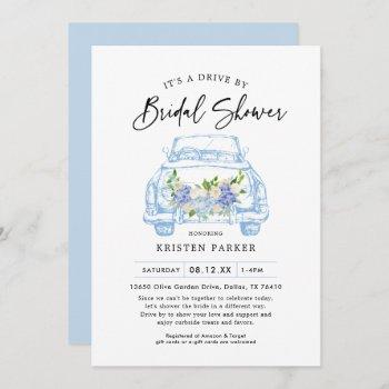 blue floral drive by bridal shower invitation