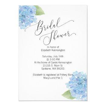 blue floral hydrangea bridal shower invitation