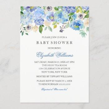 blue floral watercolor boy baby shower invitation