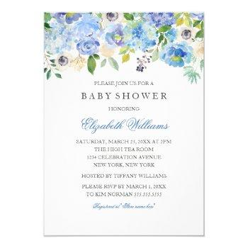 blue floral watercolor boy baby shower invitation