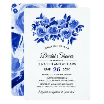 blue floral watercolor bridal shower invitations