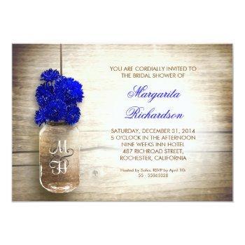 blue flowers mason jar rustic invitation