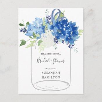 blue flowers ribbon mason jar bridal postcard