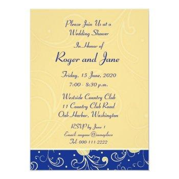 blue, gold, christian cross, bridal shower card