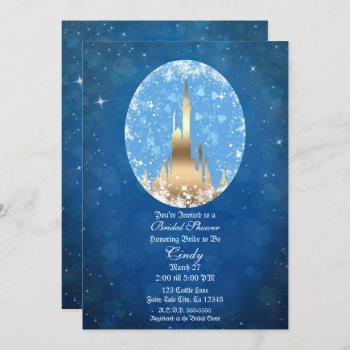 blue gold fairy tale castle sparkle bridal shower invitation