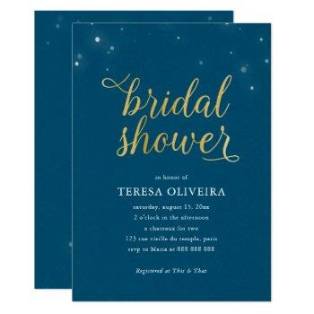 blue gold look bridal shower lights simple elegant invitation