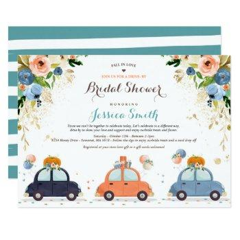 blue & gold pumpkin drive by bridal shower invitation