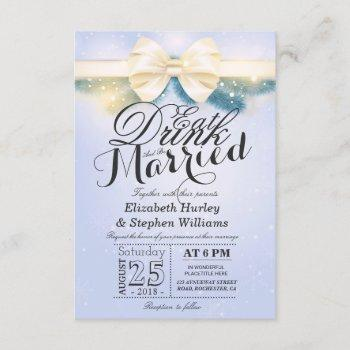 blue gold ribbon eat drink & be married invitation