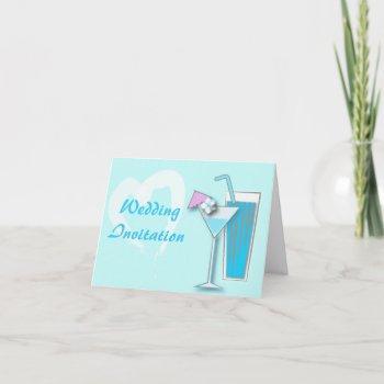 blue hawaii martini beach wedding invitation