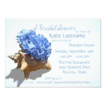 blue hydrangea and seashell bridal shower invitation