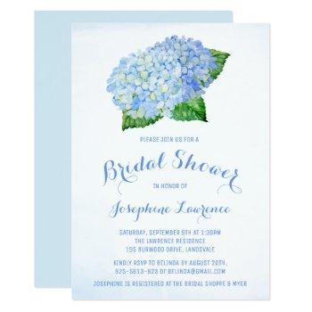 blue hydrangea floral bridal shower invitations