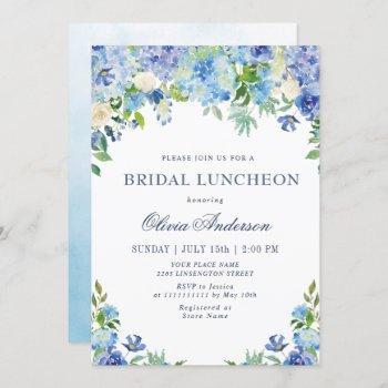 blue hydrangea greenery watercolor bridal luncheon invitation
