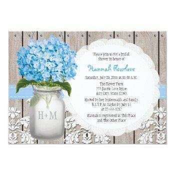 blue hydrangea monogrammed mason jar bridal shower invitation