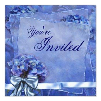 blue hydrangea party invitation