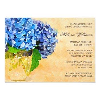 blue hydrangea watercolor mason jar bridal shower invitation