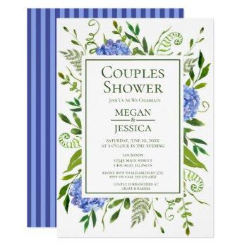 blue hydrangeas couples shower invitation