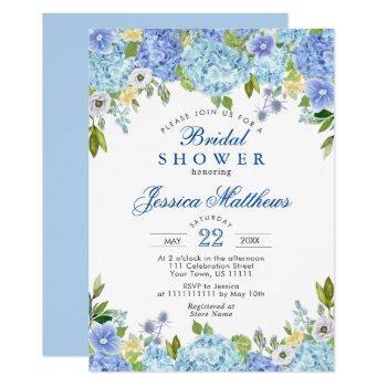 blue hydrangeas greenery watercolor bridal shower invitation