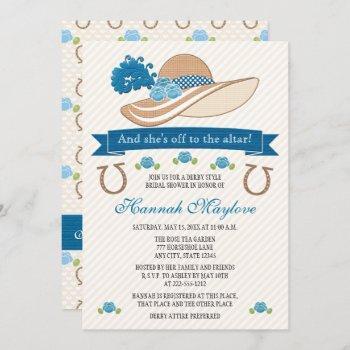 blue kentucky derby themed hat bridal shower invitation
