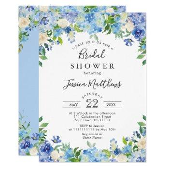 blue light watercolor hydrangea bridal shower invitation