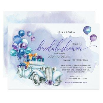 blue lilac vintage car drive-by bridal shower invitation