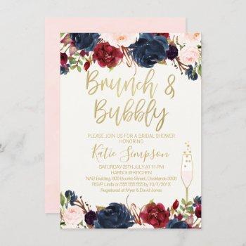 blue maroon floral brunch bridal shower invitation