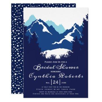 blue mountains and conifers wedding bridal shower invitation