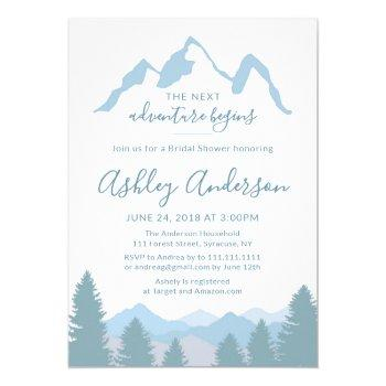 blue mountains forest bridal shower invitation