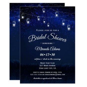 blue night mason jar string lights bridal shower invitation