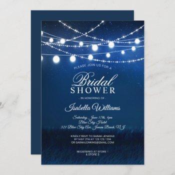 blue night & silver string lights bridal shower invitation