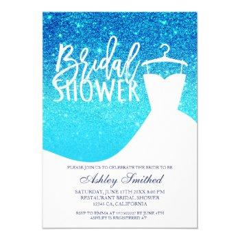 blue ocean glitter chic dress bridal shower invitation