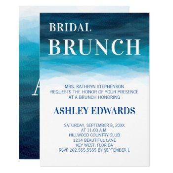 blue ocean waves wedding bridal brunch invitation