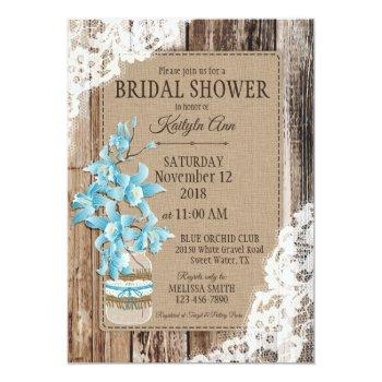 blue orchid wood lace rustic bridal shower invitation