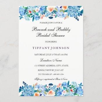 blue peach peonies brunch & bubbly invitation