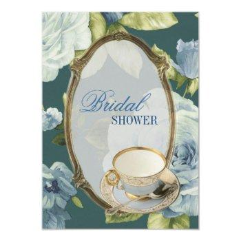 blue rose bridal shower tea party invitation