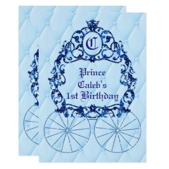 blue royal crown carriage party invitations