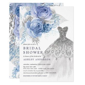 blue & silver floral wedding dress bridal shower invitation