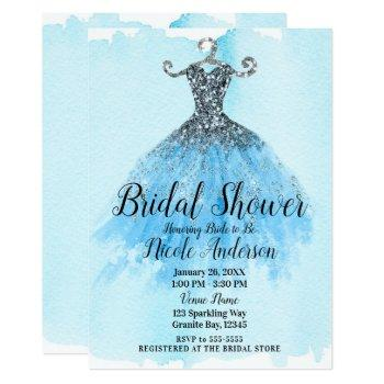blue & silver glitter sparkle dress bridal shower invitation