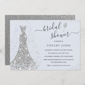 blue silver wedding dress sparkle bridal shower invitation